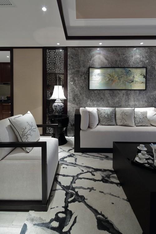 奢华优雅新古典客厅个性瓷砖效果图