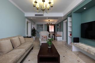 138平清新薄荷绿复古美式三居室装修效果图