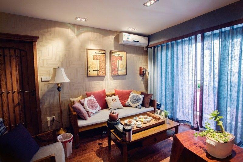 现代新古典混搭客厅背景墙装修效果图片