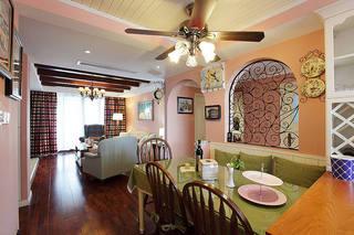 甜美粉色田园风格三居室装修效果图案例