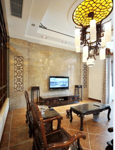 格调雅致中式古典客厅电视大理石背景墙效果图
