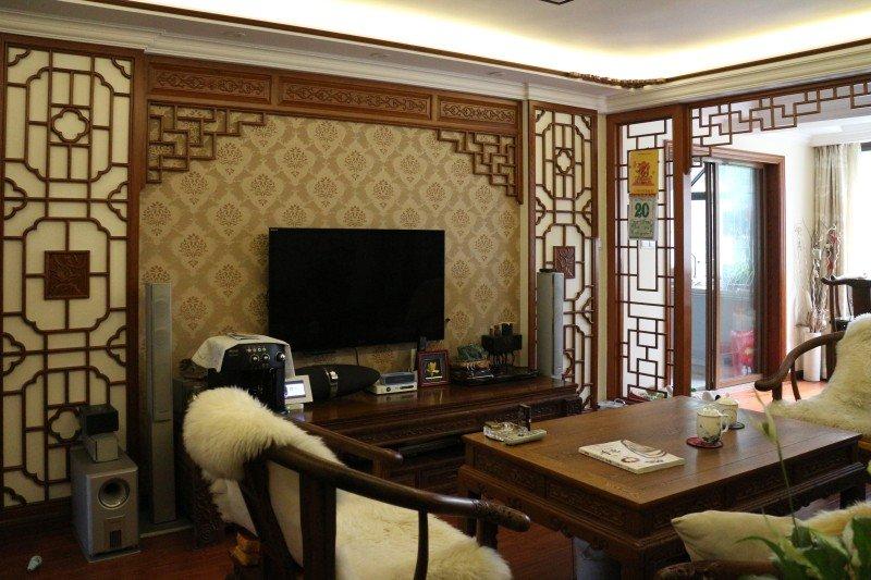 古典雕花中式客厅电视背景墙效果图