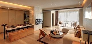 时尚素雅简中式风格家装大理石餐桌设计效果图