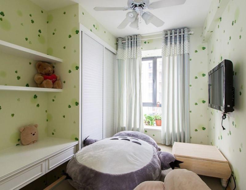 清新田园风格小户型儿童房壁纸装修图片