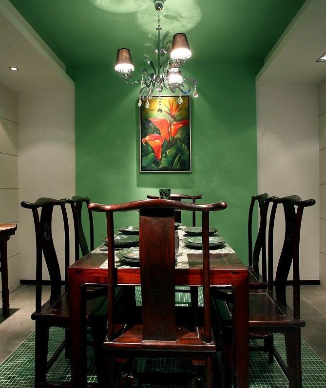 典雅中式餐厅草绿色背景墙效果图