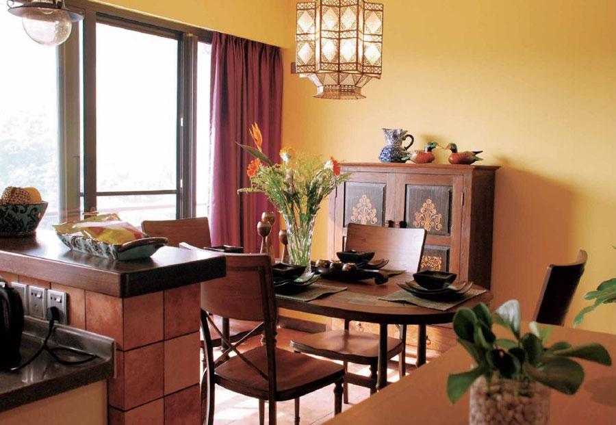 美式复古田园风格餐厅黄色背景墙效果图