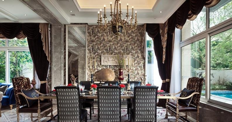 高贵奢华摩纳哥欧式风格餐厅背景墙设计装修效果图