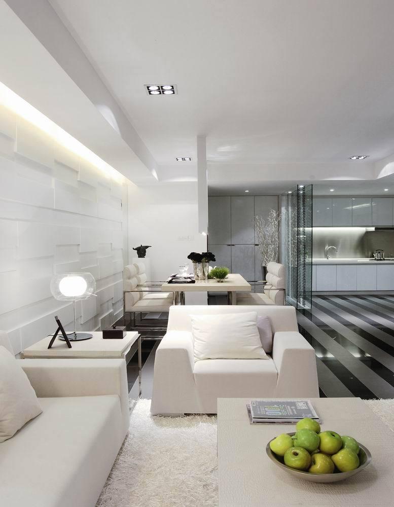时尚黑白现代设计开放式三居室效果图片