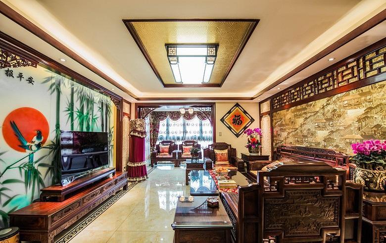 20万古典中式风格复式室内装修效果图