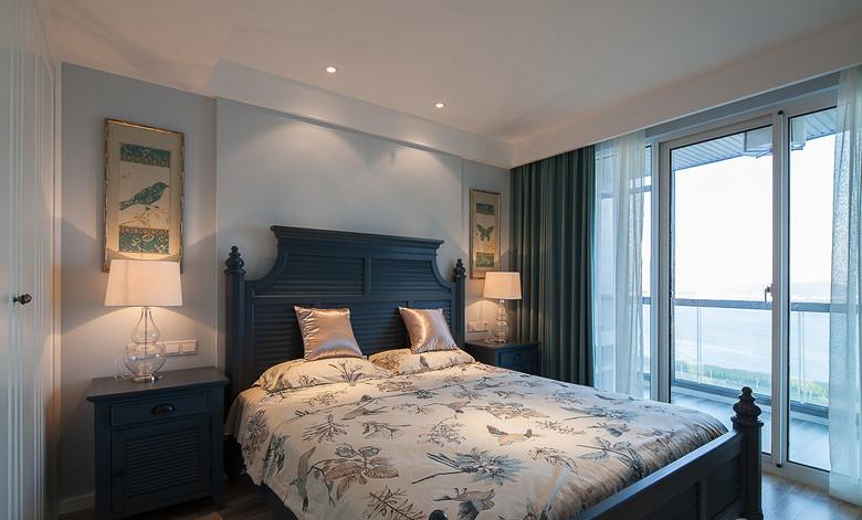 美式蓝色新古典卧室背景墙效果图