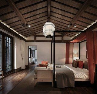 小情调悠闲复古中式卧室吊顶效果图