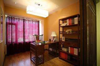 简约中式书房紫色窗帘装修效果图