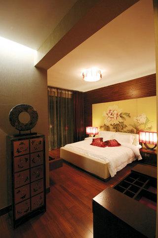 中式古典风格卧室实木装潢效果图