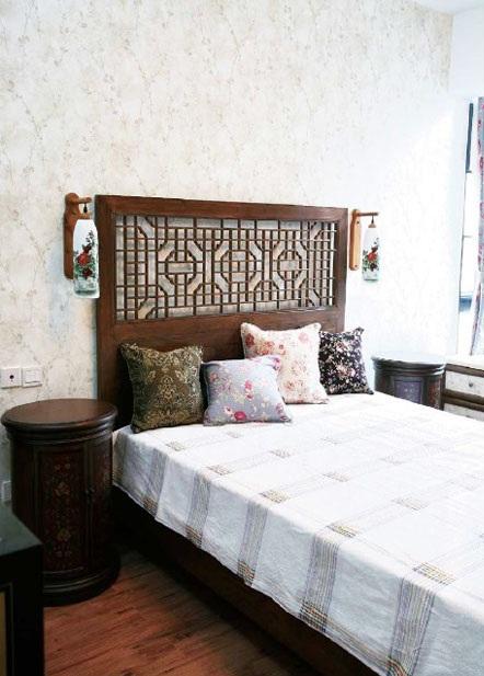古朴中式田园风格卧室床头装饰效果图