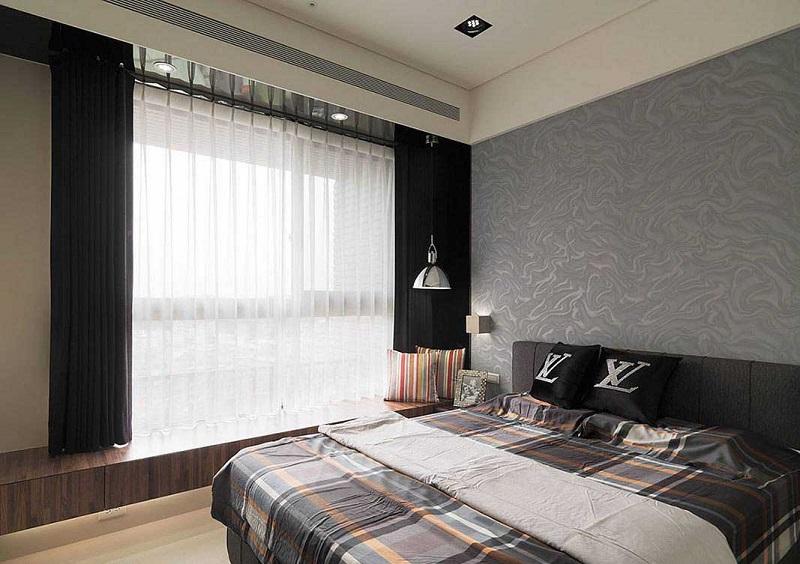摩登现代风格卧室床头背景墙设计图