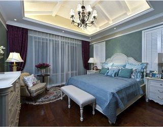 舒适地中海风卧室蓝绿色背景墙效果图