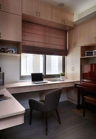 简约风格室内书房整体书柜设计效果图