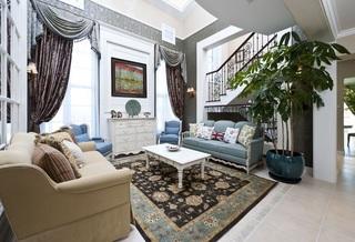 欧式复古地中海混搭复式楼挑高客厅效果图
