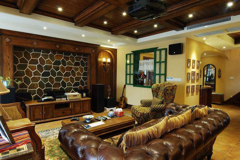 复古美式风格复式客厅设计装潢效果图片