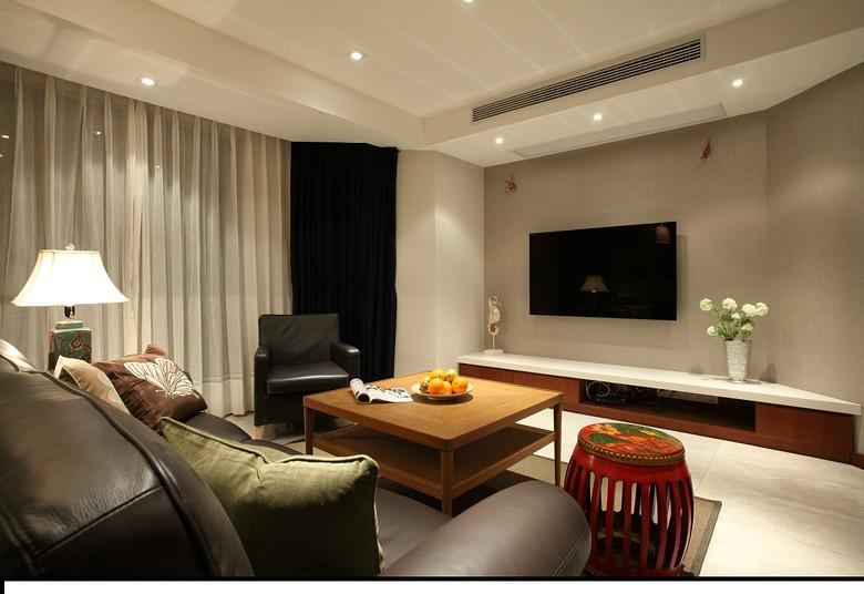 简洁中式混搭三室一厅客厅装饰效果图