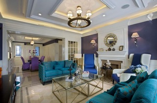 时尚撞色后现代风格客厅沙发背景墙效果图