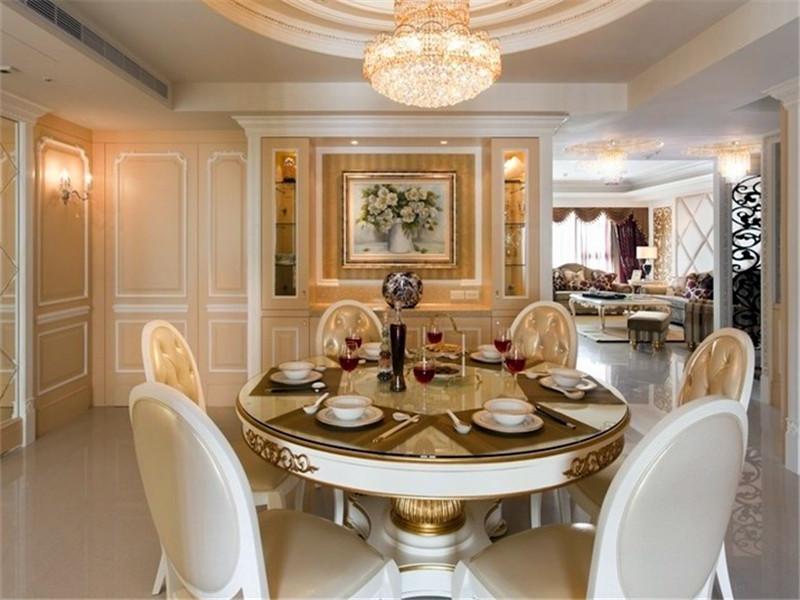 复古低奢欧式餐厅圆形餐桌效果图