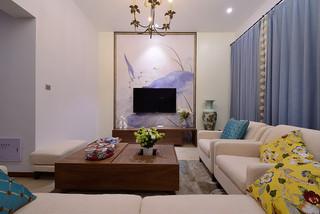 新中式客厅清新水墨画电视背景墙图片