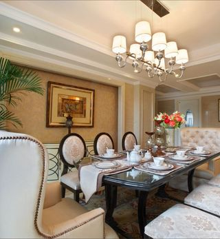 高雅和谐新古典复式餐厅设计装饰案例图