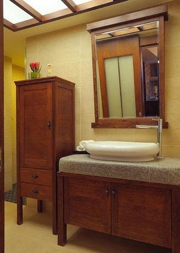 复古实木洗手间洗手区效果图