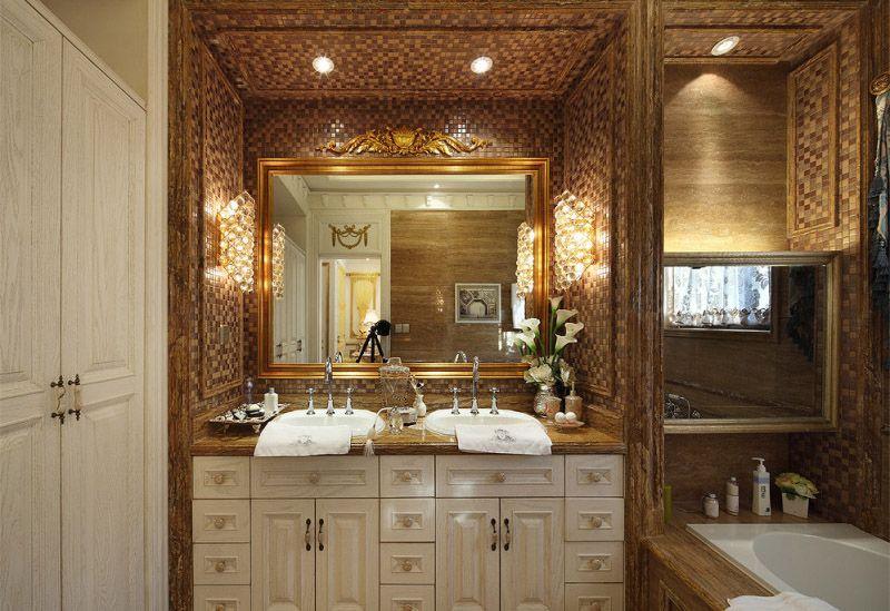 豪华欧式洗手间金色马赛克背景墙效果图