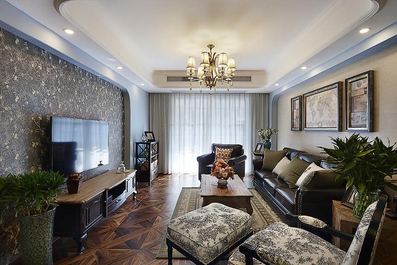 时尚混搭复古美式客厅装潢效果图