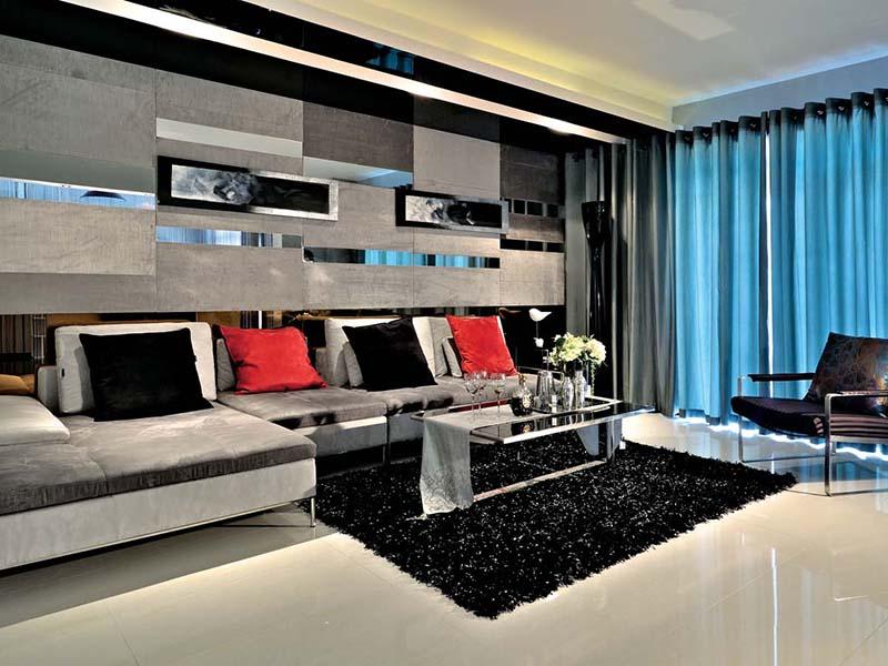 黑白现代简约风客厅创意沙发背景墙
