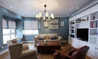唯美简约美式蓝色客厅效果图