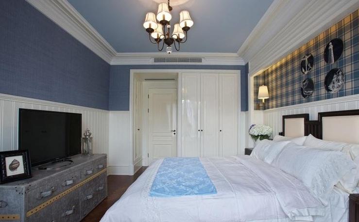 经典美式卧室复古背景墙效果图