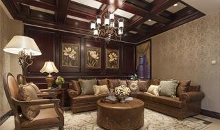 古典豪华欧式客厅真皮沙发欣赏图