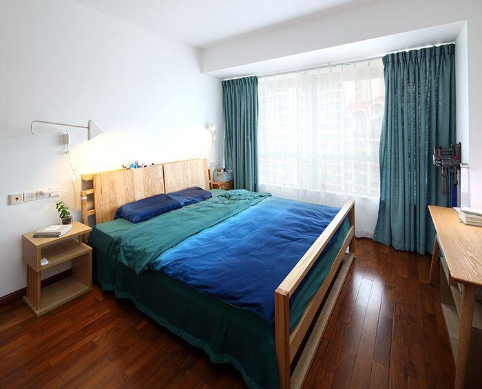 现代复古混搭卧室窗帘效果图