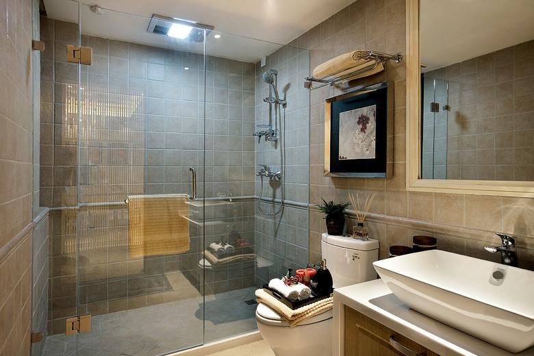 简约新中式混搭洗手间淋浴房效果图