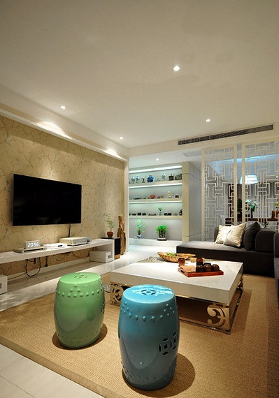 创意简约中式风格客厅局部布置欣赏图