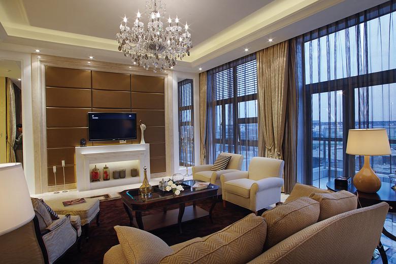现代欧式客厅金色电视背景墙效果图