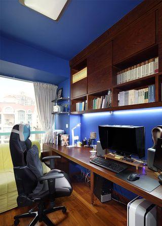 个性蓝调现代混搭书房实木隔断效果图