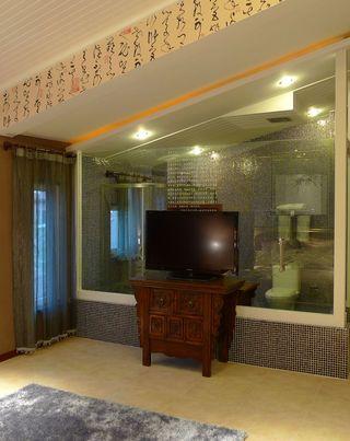 中式现代混搭客厅玻璃隔断效果图