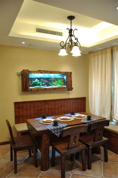 自然地中海风格餐厅实木家居装修效果图