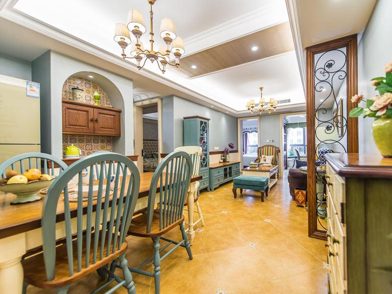 浪漫美式乡村客厅餐厅装饰设计效果图