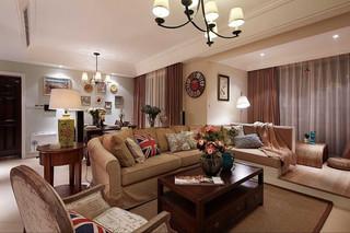 时尚现代美式风格三居客厅效果图