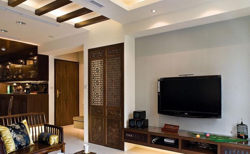 儒雅中式现代风混搭客厅吊顶图片