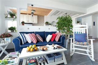 清爽地中海小客厅半开放式厨房效果图