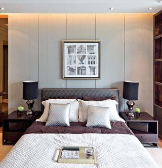清雅含蓄现代风格别墅卧室背景墙装饰效果图