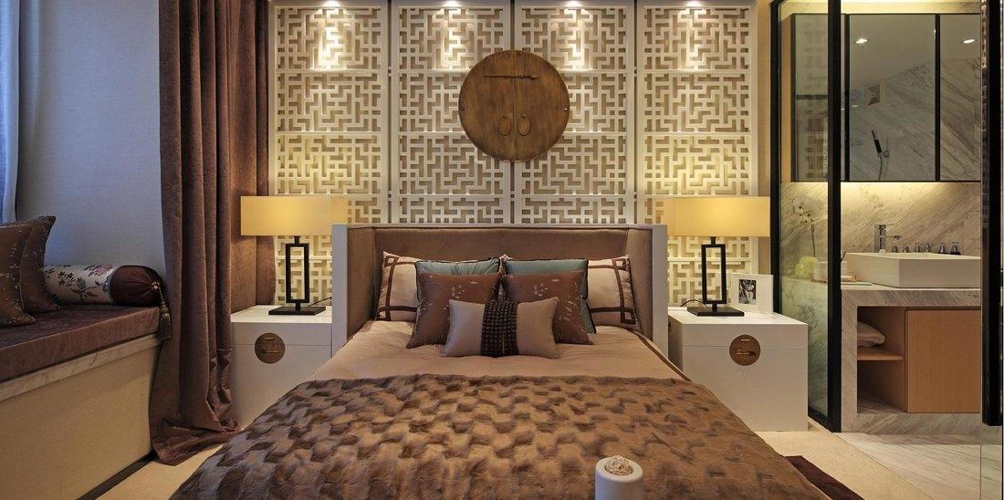 宁静雅致禅风简中式卧室床头屏风设计效果图