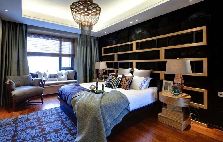 时尚现代室内卧室黑色背景墙效果图