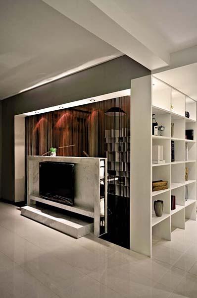黑白时尚现代简约风客厅电视背景墙